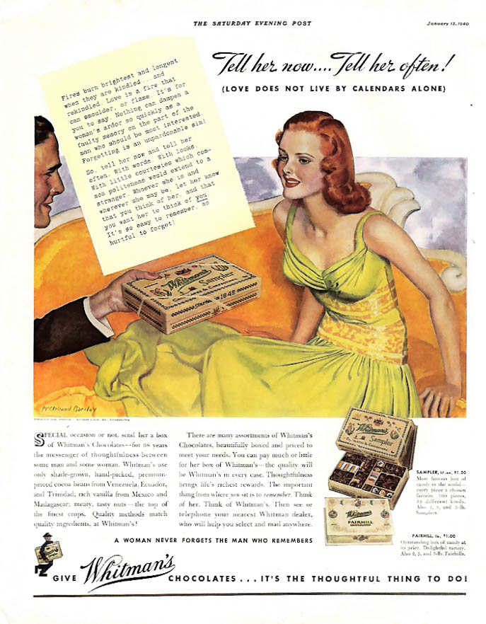 Image for Tell her now & often Whitman's Chocolates ad 1940 McClelland Barclay pin-up