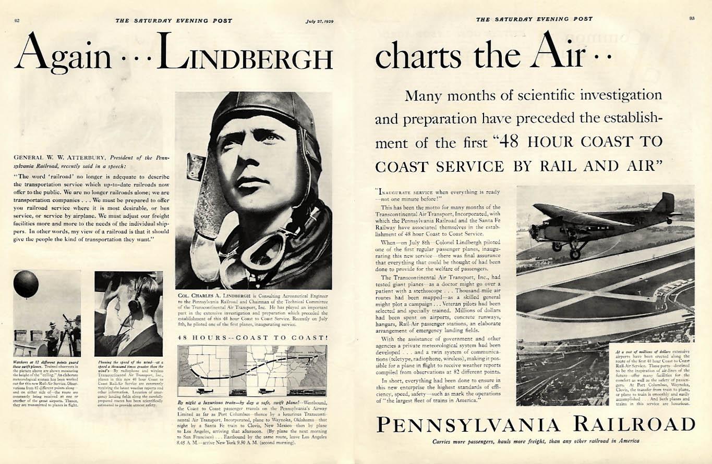 Again Lindbergh charts the air Pennsylvania RR Ford Tri-motor ad 1929 P