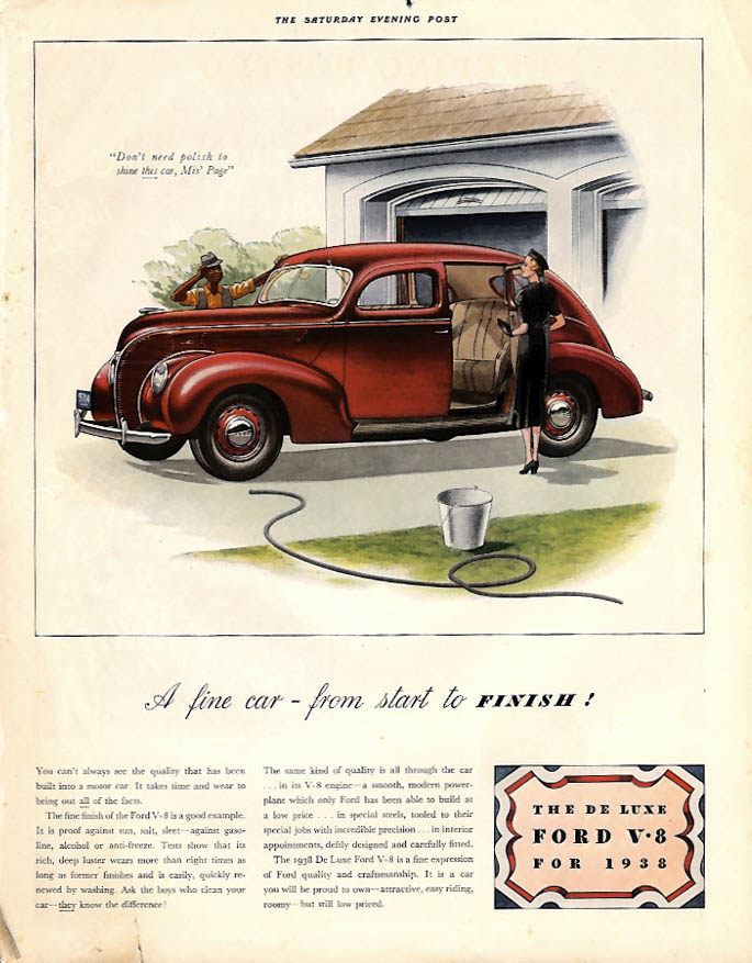 A fine car - from start to finish! Ford De Luxe V-8 Fordor ad 1938 P