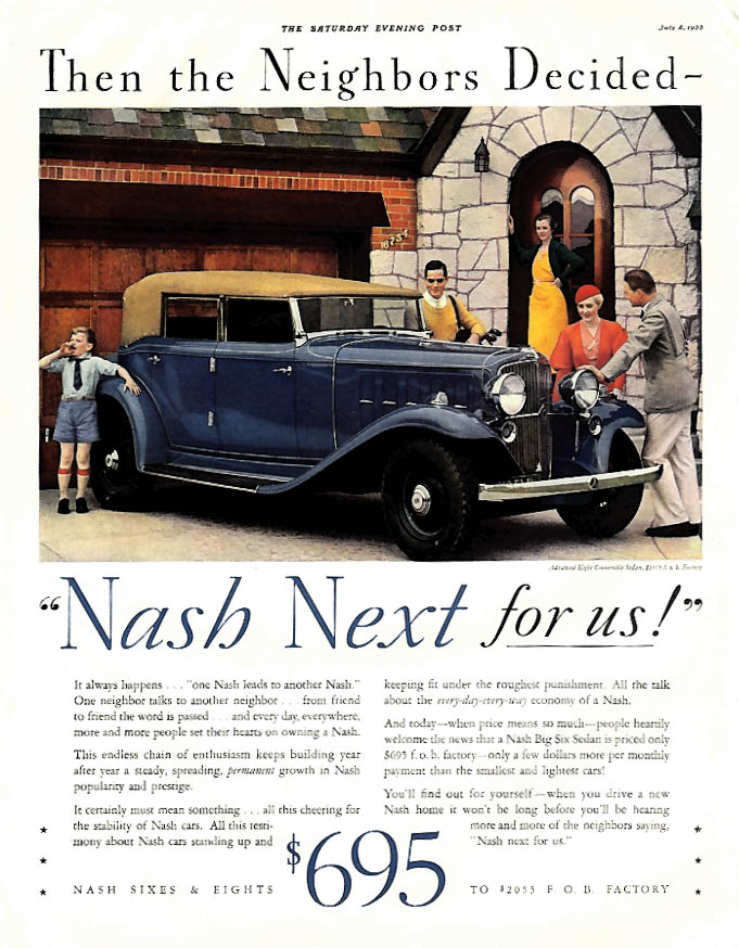 Then the Neighbors Decided - Nash Eight Convertible Sedan ad 1933 P