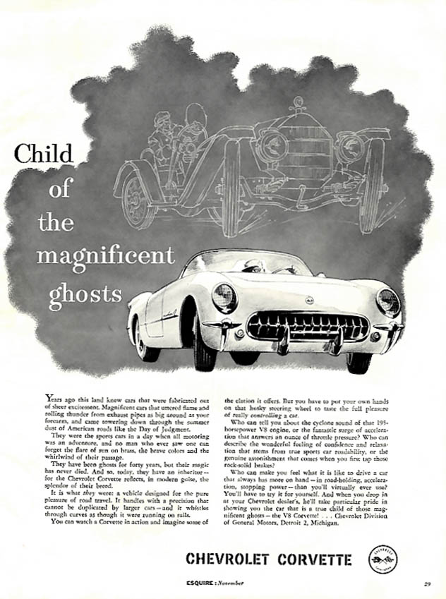 Image for Child of the magnificent ghosts - Chevrolet Corvette ad 1955 Esquire