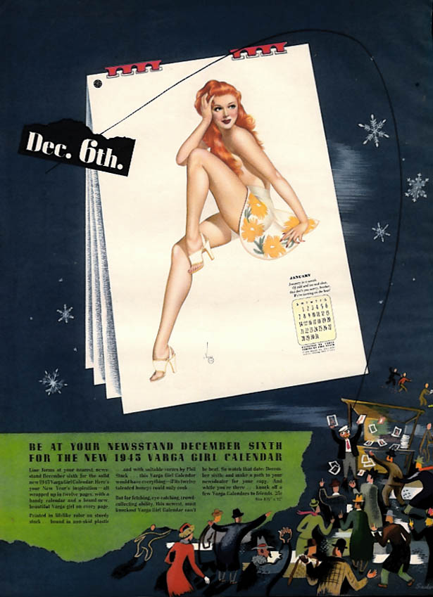 1945 Esquire Vargas Pin-up Calendar ad & preview page 1944