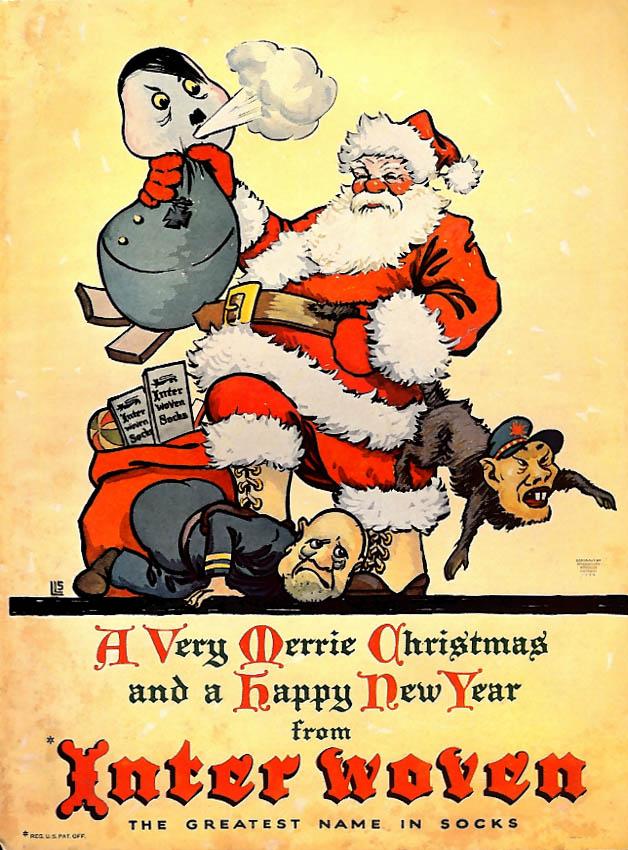 Interwoven Socks Santa Claus whips Hitler Tojo & Mussolini ad 1944