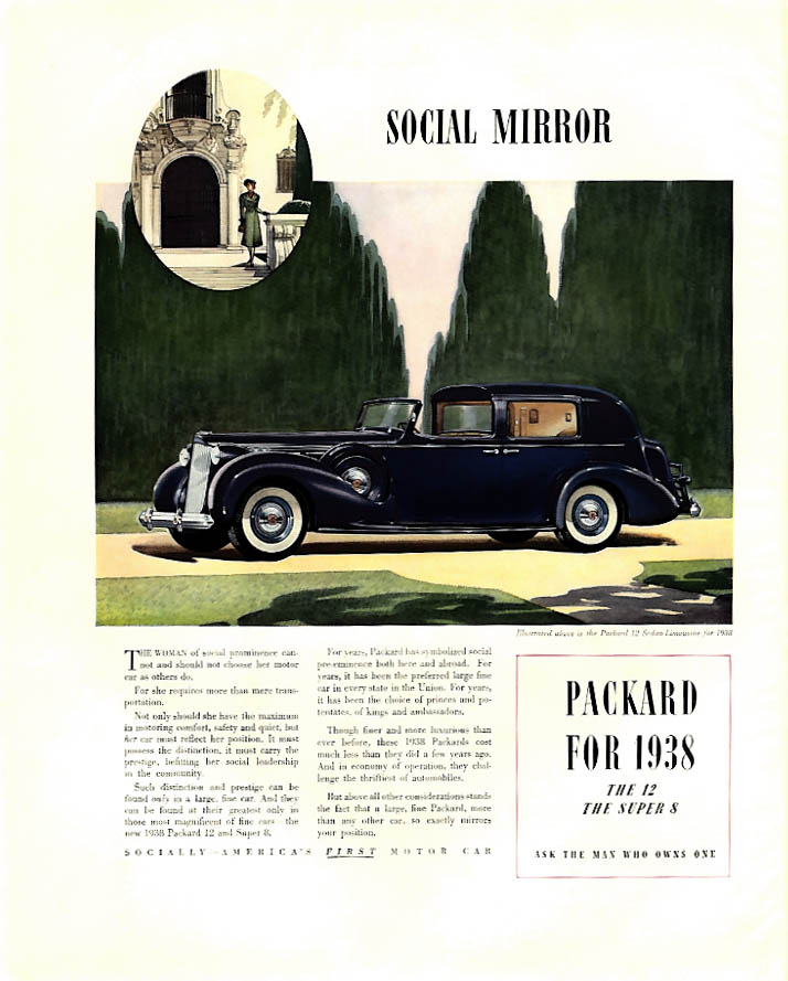 Social Mirror - Packard 12 Sedan Limousine Town Car ad 1938 F