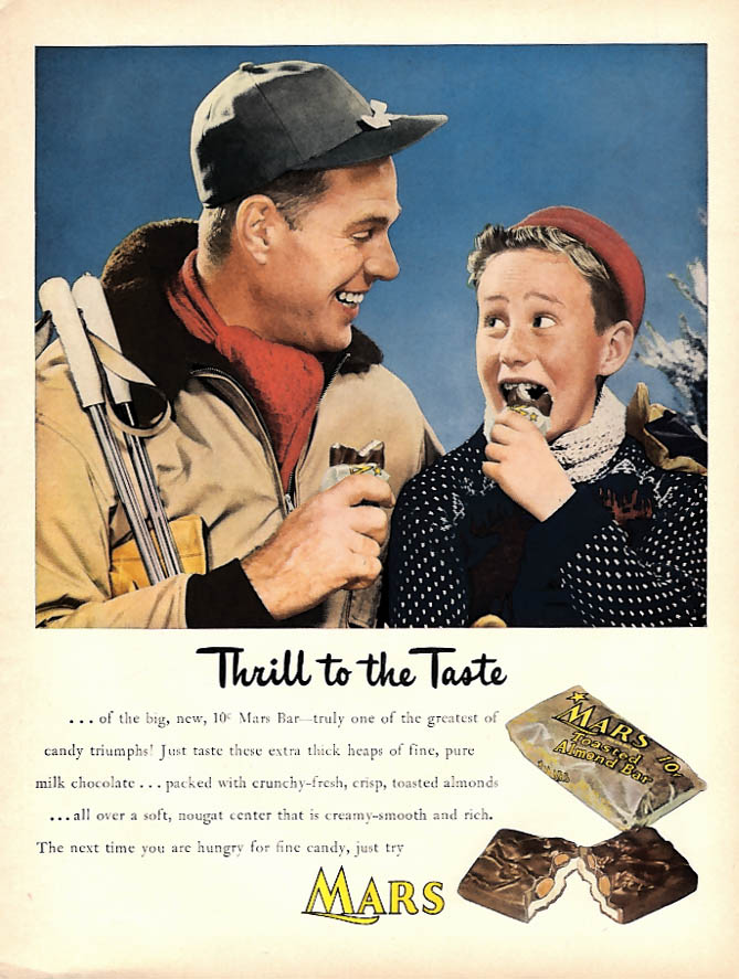 Image for Thrill to the Taste Mars Toasted Almond Candy Bar ad 1947 father son skiing