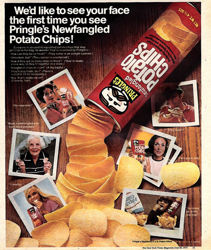 Image for We'd like to see your face the first time you see Pringle's Potato Chips ad 1975