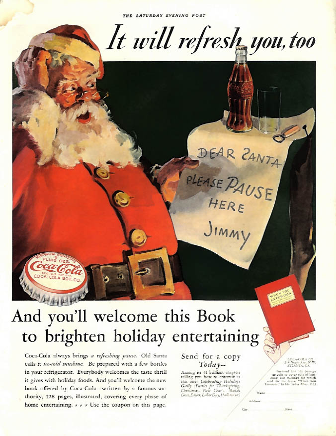 It will refresh you too - Santa Claus Coca-Cola ad 1932 SEP