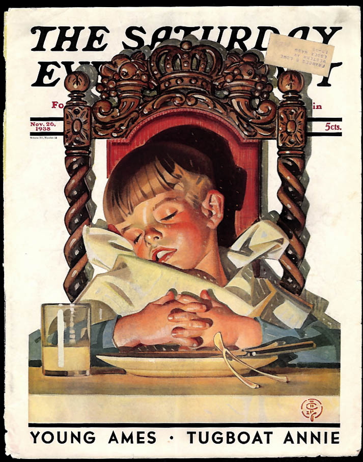 Saturday Evening Post COVER ONLY 11/26 1938 J C Leyendecker Thanksgiving
