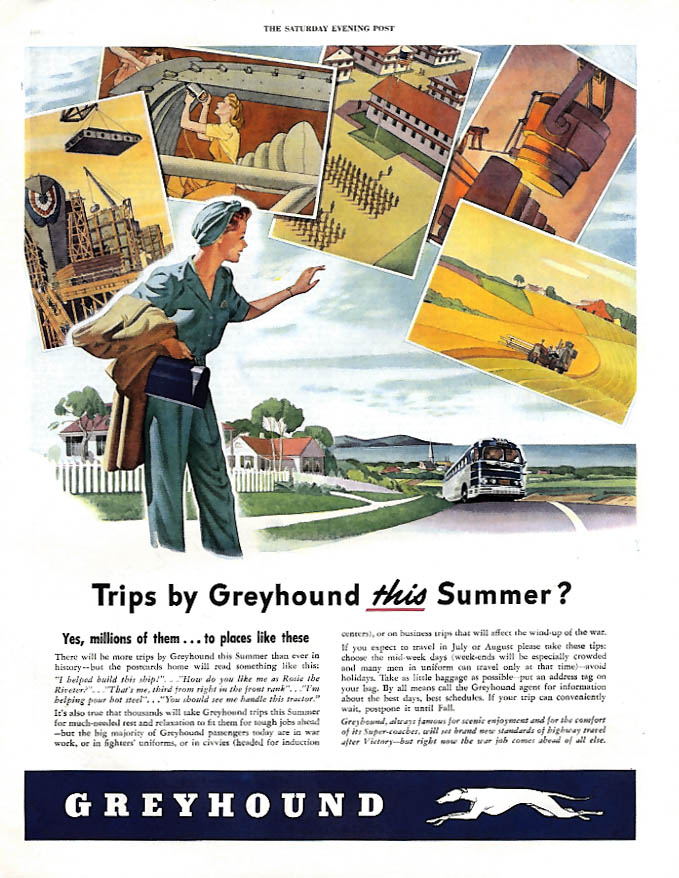 Trips by Greyhound Bus this summer? Woman war worker ad 1944 SEP