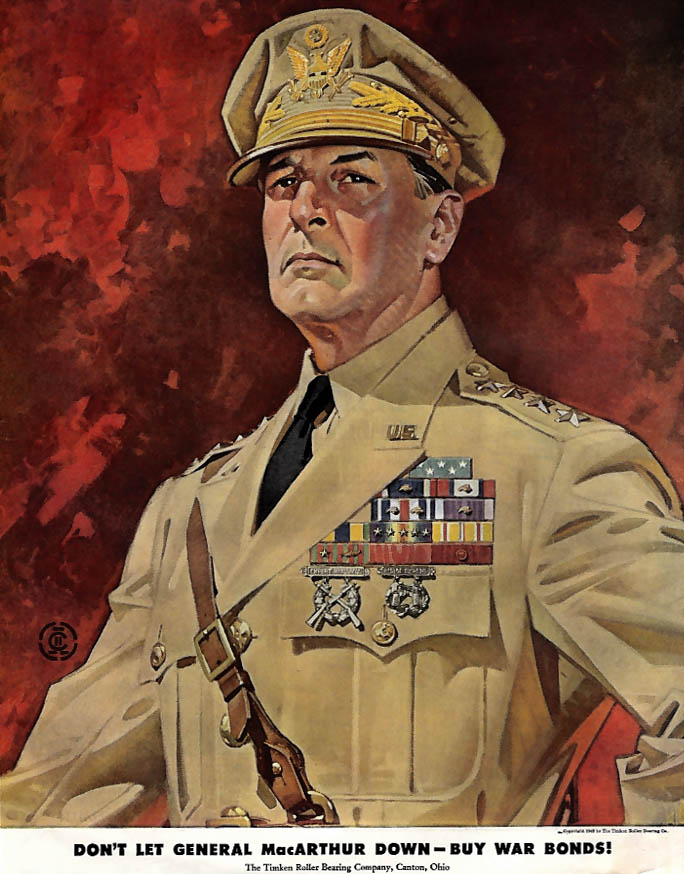 Don't Let General MacArthur Down - Buy War Bonds ad 1943 J C Leyendecker SEP