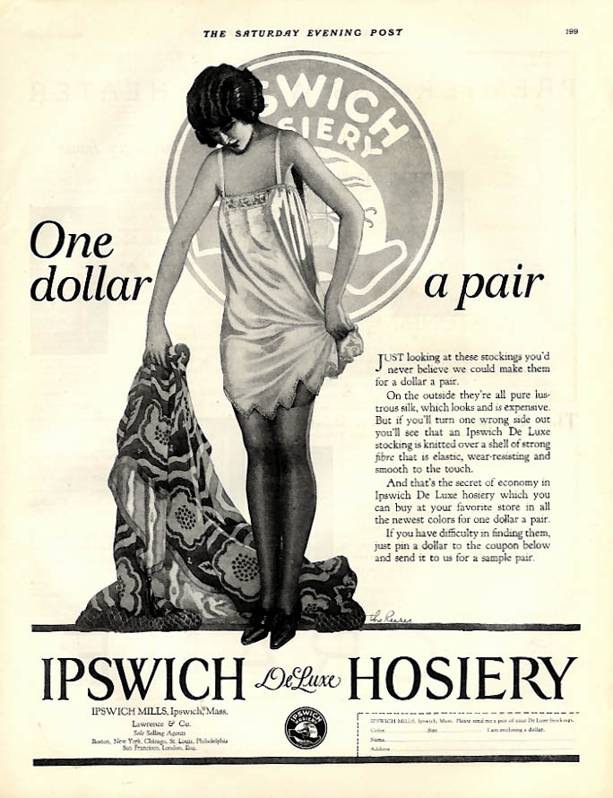 One dollar a pair - Ipswich DeLuxe Hosiery ad 1924 The Reeses art