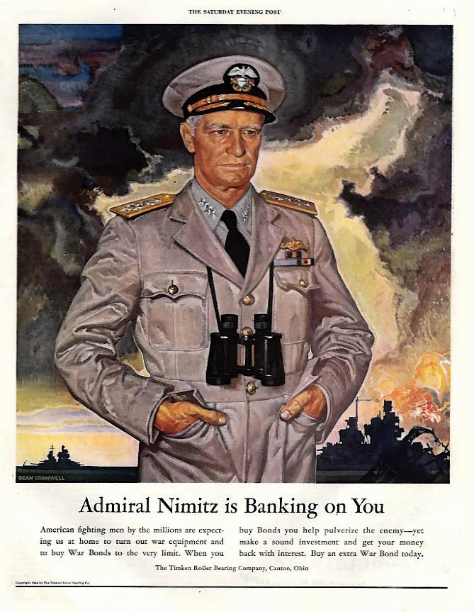 Admiral Nimitz is Banking on You - Buy War Bonds ad 1944 Dean Cornwell art