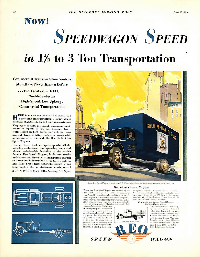 1 1/2 to 3 ton transportation - Reo Speed Wagon ad 1929 Gold Medal Flour SEP