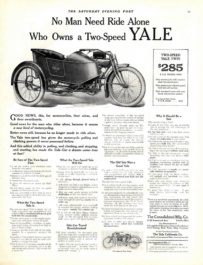 Image for No man need ride alone who owns a Two-Speed Yale Motorcycle ad 1914 Sep
