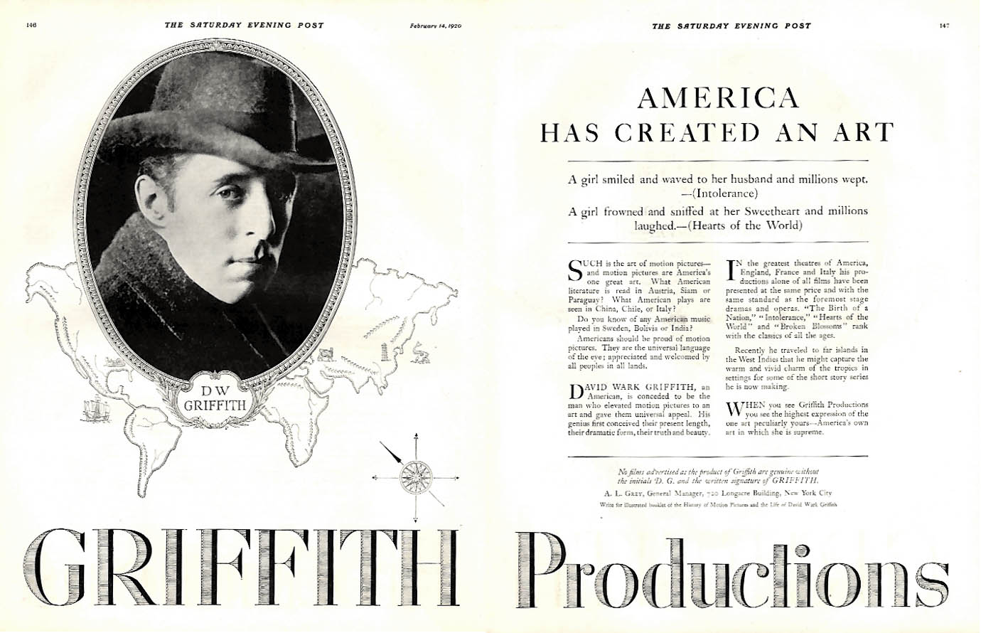 Amerioca Has Created an Art - D W Griffith Productions films ad 1920 SEP
