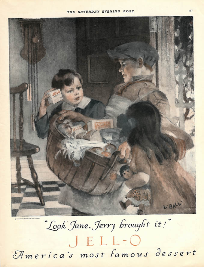 Image for Look Jane, Jerry brought it Jell-O ad 1924 J Ball art