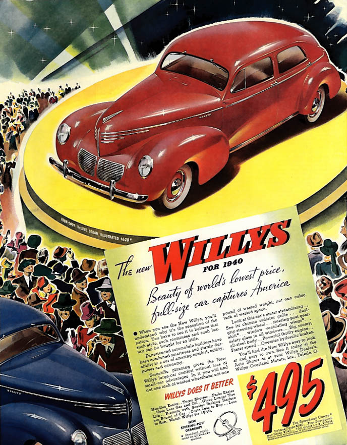 Beauty of world's lowest price full-size car Willys Sedan ad 1940 SEP