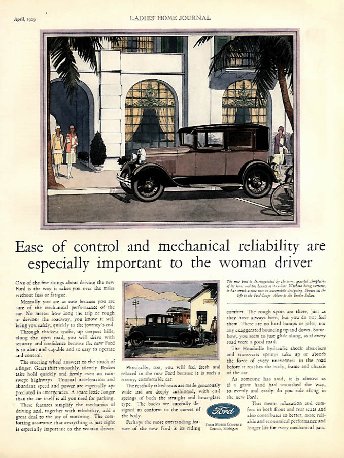 Ease of control & mechanical reliability Ford Model A Fordor & Coupe ad 1929 LHJ