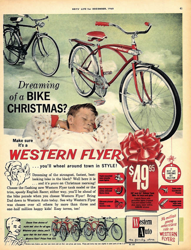 Dreaming for Christmas? Western Flyer Bicycle ad 1960 BL