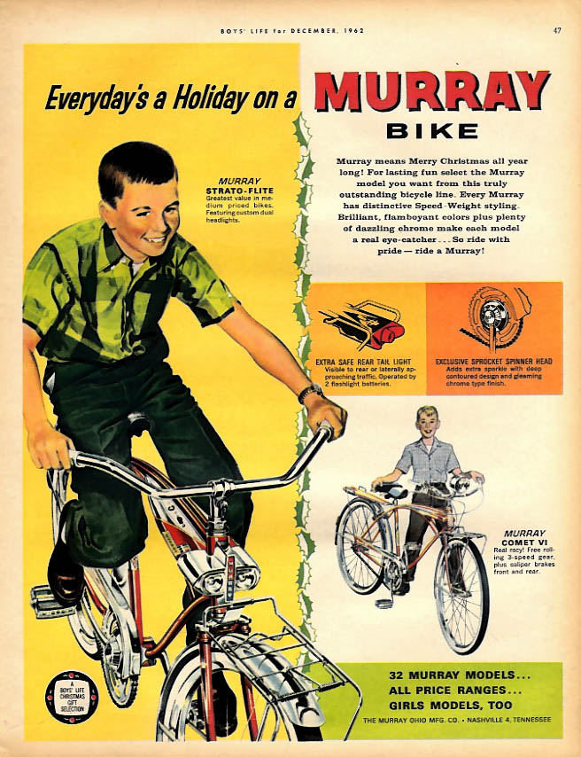 Everyday's a Holiday on a Murray Bicycle ad 1962 Strato-Flite Comet VI
