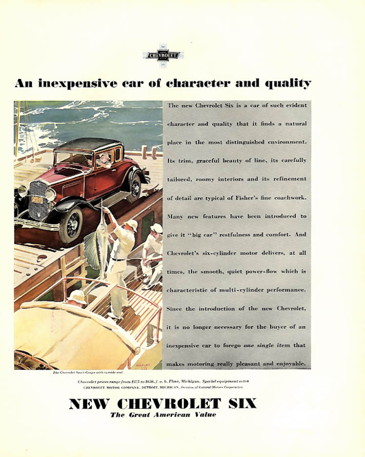 An inexpensive car of character & quality Chevrolet Sport Coupe ad 1931 F