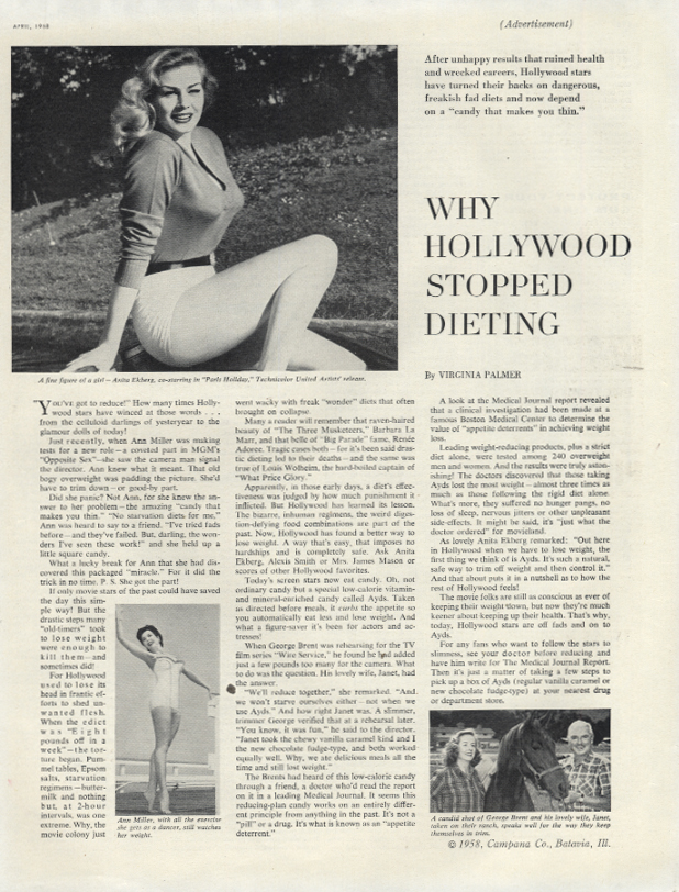Anita Ekberg on Why Hollywood Stopped Dieting - Ayds Diet Candy ad 1958 LHJ