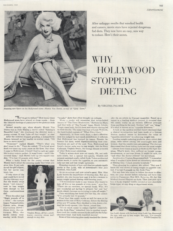 Mamie Van Doren on Why Hollywood Stopped Dieting - Ayds Diet Candy ad 1959 LHJ