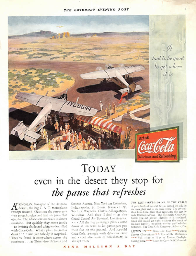 Even in the desert they stop for the pause that refreshes Coca-Cola ad 1930 SEP