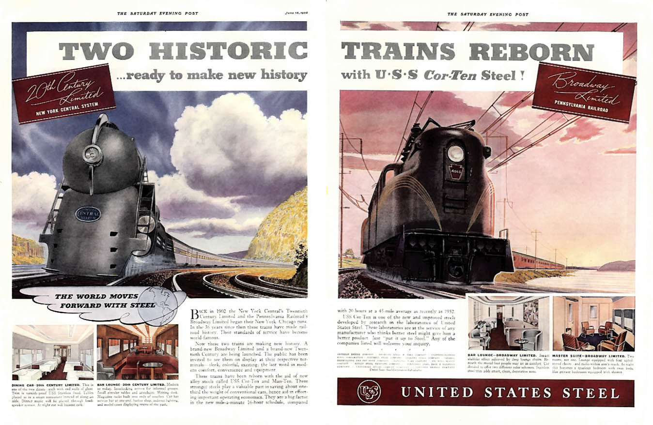 New York Central 20th Century PRR Broadway Limited United States Steel ad 1938