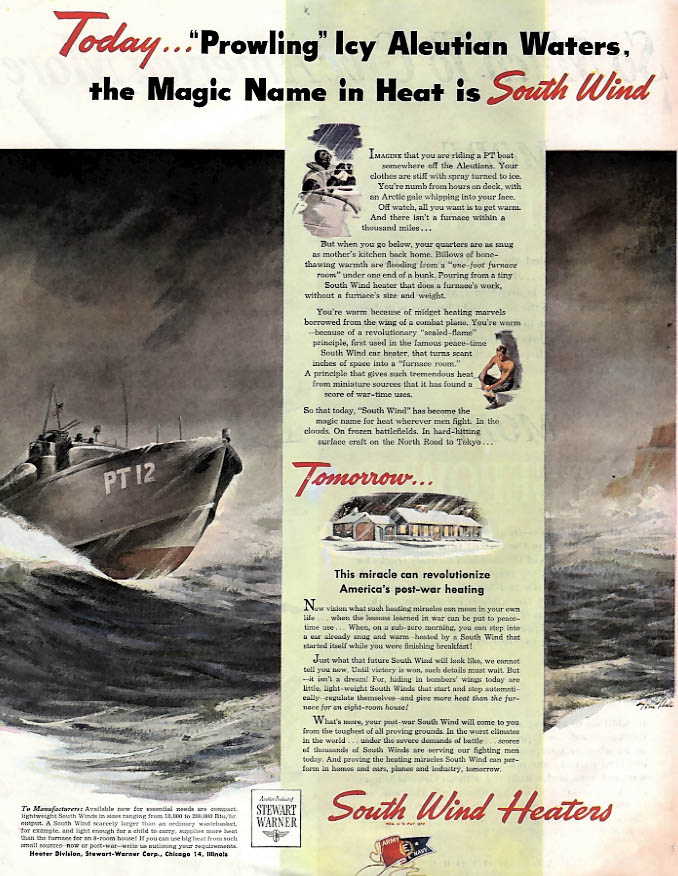 Prowling Icy Aleutian Waters PT Boat - South Wind Heaters ad 1944 SEP