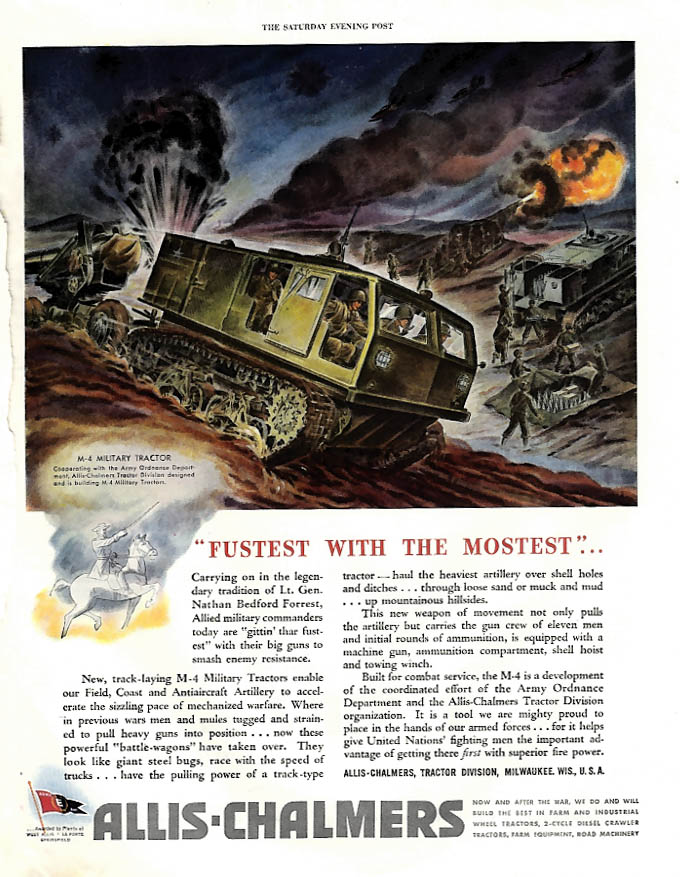 Fustest with the Mostest - Allis Chalmers M-4 Military Tractor ad 1944 SEP