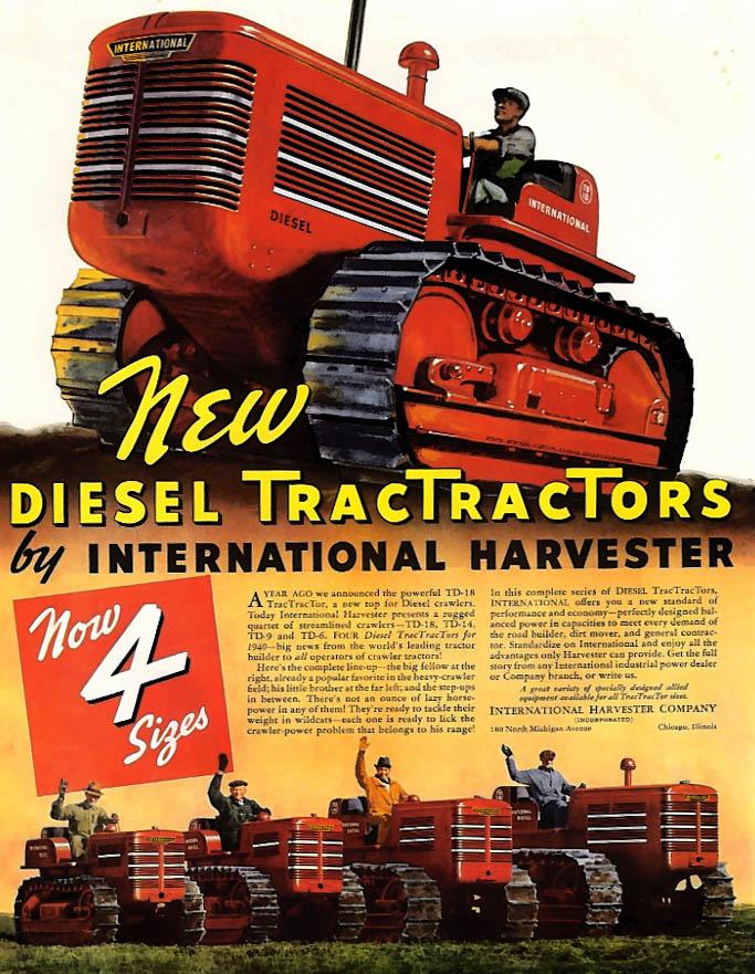 International Diesel Tractor / Flight Records Champion Spark Plugs ad 1940 Helck
