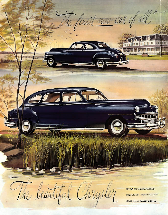 Image for The finest new car of all The beautiful Chrysler 4-door Sedan ad 1946 SEP