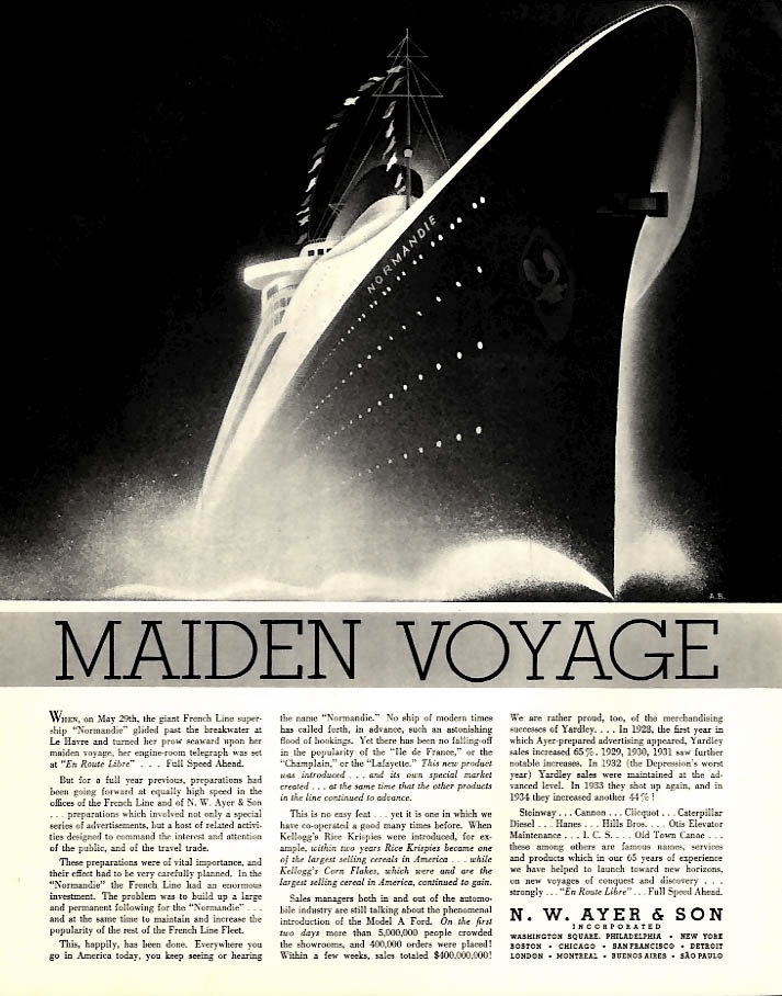 French Line S S Normandie Maiden Voyage - N W Ayer ad 1935 F