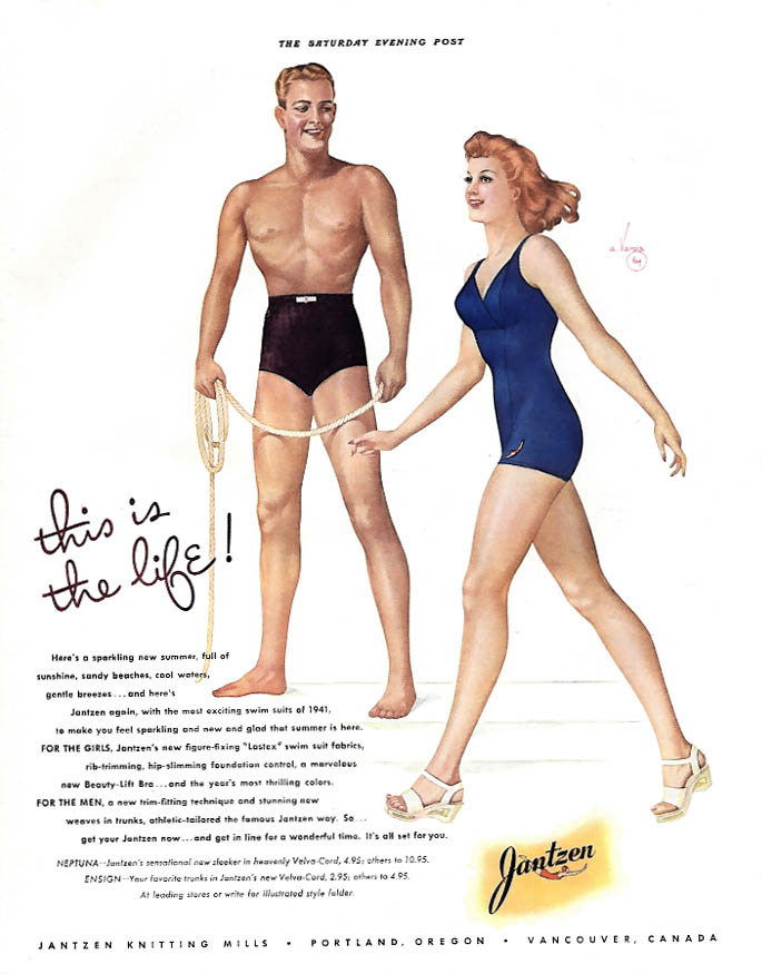 This is the life! Jantzen Swimsuits ad 1941 Vargas illustration SEP