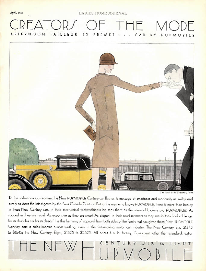 Creators of the Mode - Hupmobile Century 8 Cabriolet Coupe ad 1929 LHJ