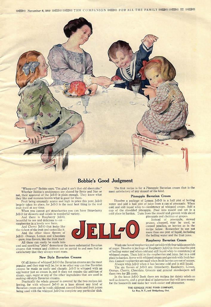 Bobbie's Good Judgment Jell-O ad 1919 Rose O'Neill YC