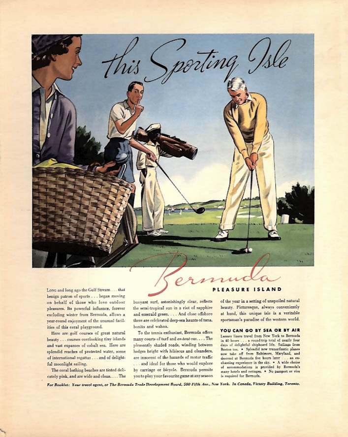 This Sporting Isle - Bermuda Pleasure Island ad 1938 golf game F