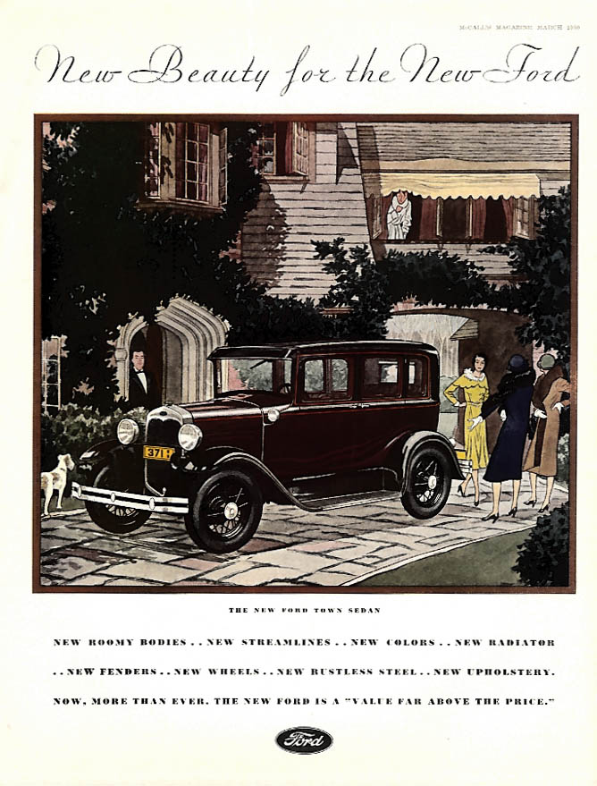 New Beauty for the New Ford Model A Town Sedan ad 1930 McC