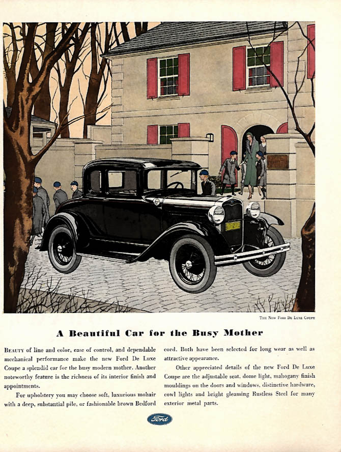 A Beautiful Car for the Busy Mother - Ford Model A De Luxe Coupe ad 1931 WHC