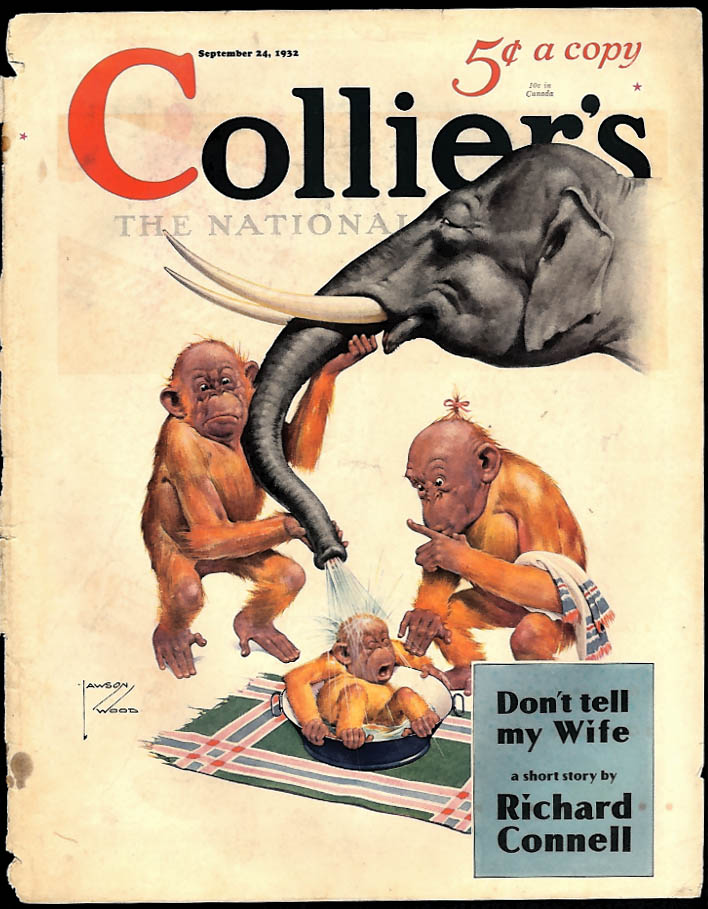 COLLIER'S COVER Lawson Wood monkeys give elephant bath to baby 1932