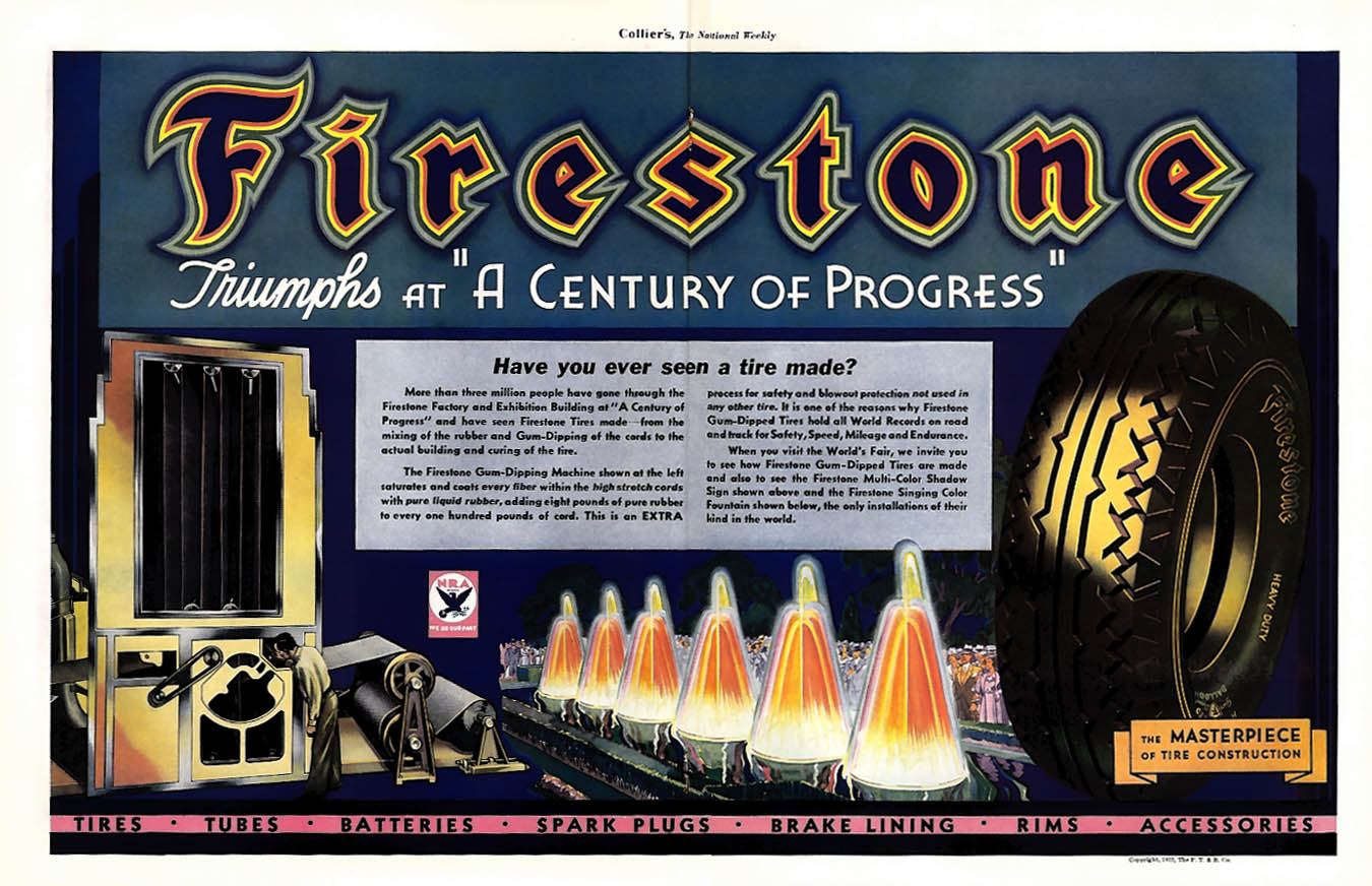 Firestone triumphs at A Century of Progress ad 1933 Col