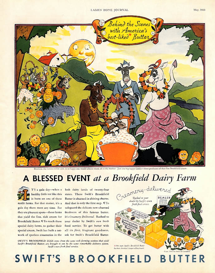 A Blessed event Brooksie & Pals Swift's Brookfield Butter ad 1933 LHJ