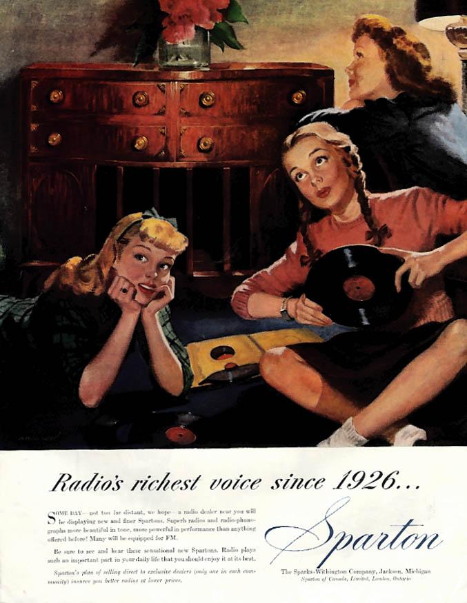 Teenage girls listen to records Sparton Radio Phonograph ad 1945 Col