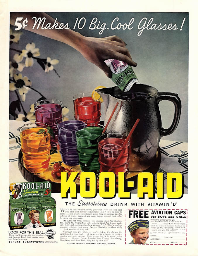 5c Makes 10 Big, Cool Glasses - Kool-Aid ad 1938 aviation cap offer LHJ