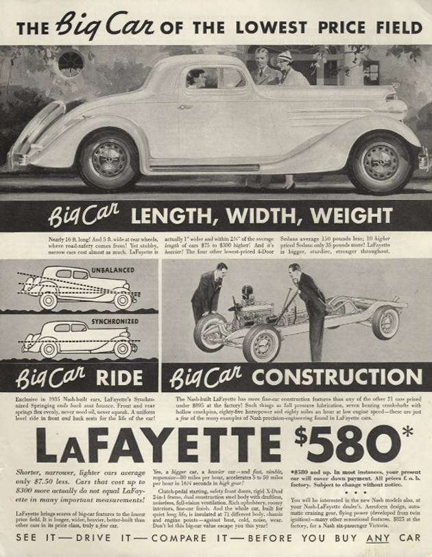 The Big Car of the lowest price field Lafayette Coupe by Nash ad 1935 SEP