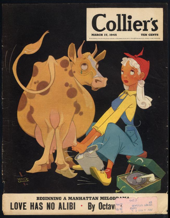 COLLIER'S COVER 3/17 1945 Vernon Grant - blonde milks cow to record's beat