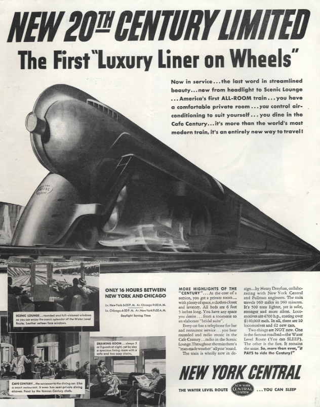 New York Central 20th Century Limited Luxury Liner on Wheels ad 1938 Col