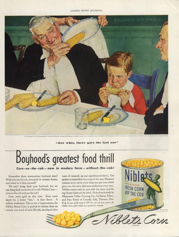 Boyhood's greatest food thrill Niblets Corn on the Cob ad 1939 Norman Rockwell J