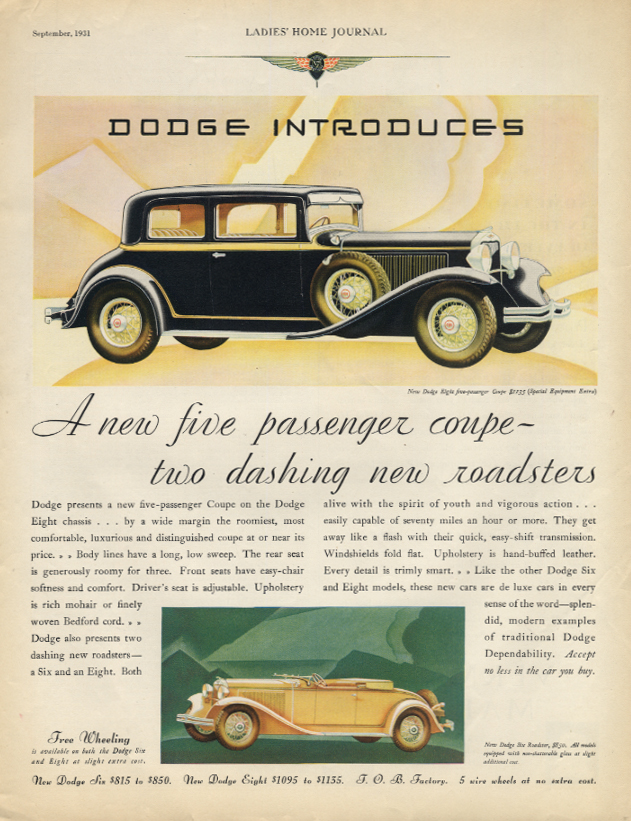 A new five-passenger coupe & two roadsters Dodge ad 1932 LHJ
